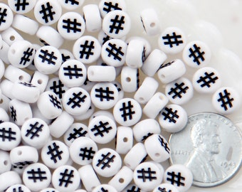 Hashtag Beads - 7mm Little Round White Number Sign or Hashtag Symbol Acrylic or Resin Beads - 300 pc set