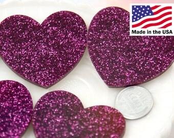 Heart Cabochons - 45mm Deep Fuchsia Pink Glitter Heart Cabochons - 4 pc set