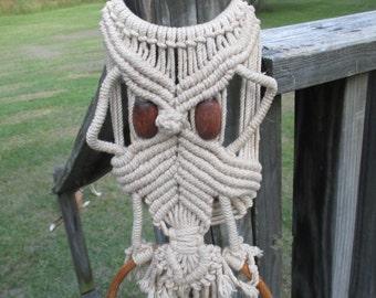 Vintage Macrame' Owl Towel Ring Holder--Retro Hippie Decor--Boho Style Bathroom--Kitchen Towel Ring