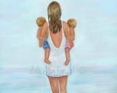 "Mother Daughter Son Twins Art Print Big Sister Mom Boy Girl Beach Art Home Decor Family Art Giclee ""DOUBLE THE FUN"" Leslie Allen Fine Art"