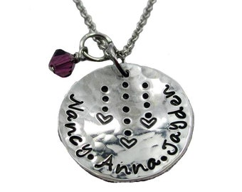 Heart Strings Hand Stamped Mom Necklace