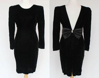 80's Black Velvet Wiggle Dress/ Deep V Back / Bow in Back / XSmall to Small