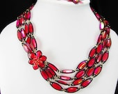 Extravagant Vintage Necklace Pink & Red layered  chandelier exotic cluster clasp Hong Kong aurora borealis beads 4 strand * Earrings clip on
