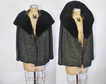 1950s Swing Tweed Jacket Coat / Genuine FUR Collar / Small / FRANCE