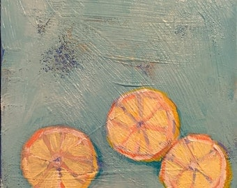"Lemon and a Half - Original Acrylic Oil Encaustic Still Life Painting 8""x 8"""
