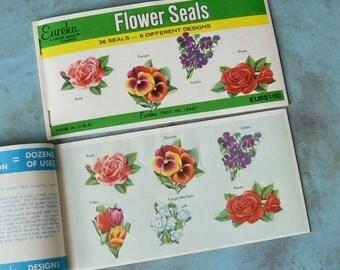 Vintage Eureka Flower Gummed Seals 2 Full Books 72 pc