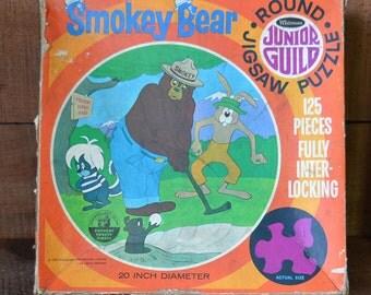 Vintage Smokey Bear 125 Piece Round Jigsaw Puzzle Complete Whitman 1970