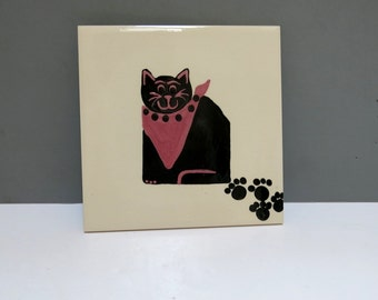 Black Cat Ceramic Tile Hand Painted H&R Johnson Tiles LTD Vintage 1970s 80s