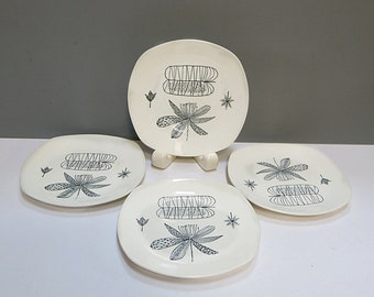 Four 1950s Bread & Butter Plates Nature Study by Midwinter Staffordshire England Designed by Terance Conran