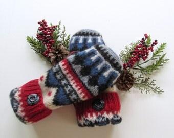 Felted Wool Mittens - Fleece Lined Wool Mittens - Red Gray Wool Mittens - Recycled Wool Mittens - Upcycled Wool Sweaters