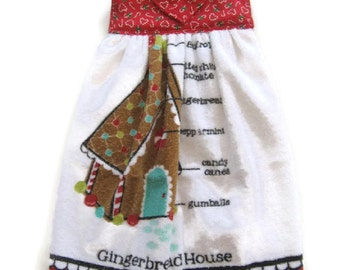 Hanging Christmas Kitchen Towel - Gingerbread House Hanging Towel - Candy Cane Fabric Top Christmas Towel