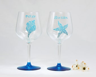 Beach personalized wine glasses - Set of 2 hand painted glasses - Sea Glass Collection