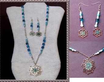 Necklace Set - Silver and Blue Pendant Necklace and Earring