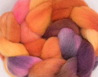 Hand dyed combed top,  Kent Romney, British breed wool, hand painted, English wool tops, roving, fibre, fiber, 100g, colour; Helen