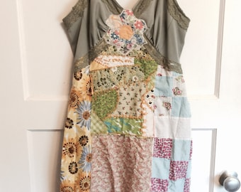 Patchwork altered slip dress with green and colorful scraps from vintage quilt and fabrics embroidery patchwork