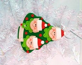 Gift for Family of Three - Elf Family of 3 Christmas Tree Ornament - Santa's Elves Ornament - Personalized Christmas Tree Ornament  - 8143
