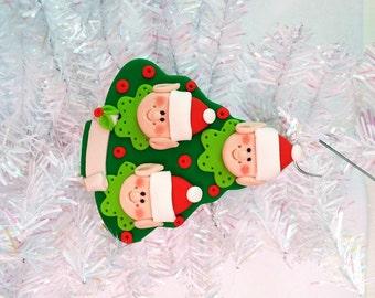 Gift for Family of Three - Elf Family of 3 Christmas Tree Ornament - Santa's Elves Ornament - Personalized Christmas Tree Ornament  - 8143