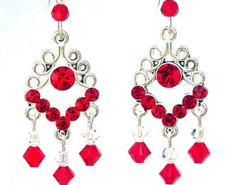 Red chandelier earrings, birthday gift for her, Swarovski crystal red filigree, red crystal chandelier earrings, red bridal, gift for Mom