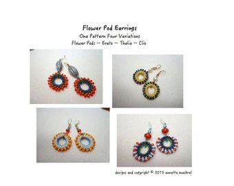 Four Variations in One - Bead Crochet Earring Patterns