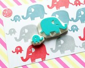 elephant family stamp set. big elephant & baby elephant hand carved rubber stamps. animal stamps. diy baby shower birthday crafts. set of 2