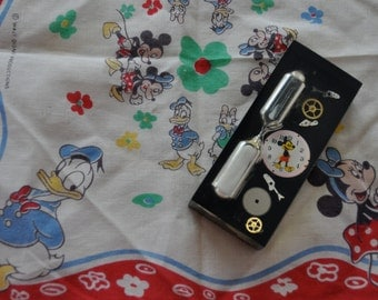 Vintage Mickey Mouse Souvenir Collection/Vintage 1950s 1960s/Handkerchief and Hourglass Timer