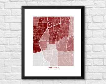 Fayetteville Map Print.  Choose the Colors and Size.  Perfect Graduation Gift for your University of Arkansas Razorback.