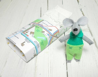 Small felt mouse in matchbox bed miniature plush mice in a box bed best friend mint green turquoise pre teen gift birthday kids children