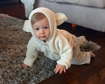 Crochet PATTERN Baby Cardigan - Easter baby sweater - Crochet PATTERN Baby Cardigan - Lamb's Ears Cardigan