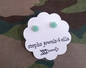 Light Aqua Turquoise Teeny Tiny Mini Rose Beautiful Bloom Flower Earrings