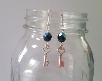 Boho Sunshine Heart Key Charm Earrings Hypo-Allergenic Ear Hooks with Sparkle Faceted Black Beads