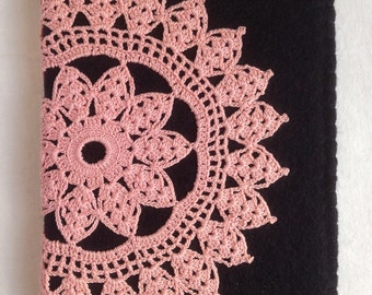 Notebook - A6 - Doily - Wool Felt - Re-purposed - Journal - Black - Pink