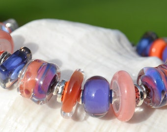 Reserve for Annie-MYSTIQUE-Handmade Lampwork and Sterling Silver Bracelet