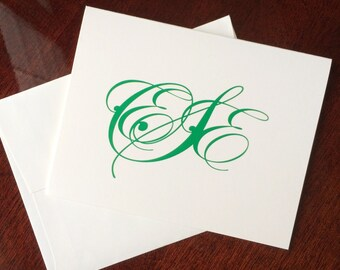 Personalized Stationery Blank Note Cards Monogram Stationary Thank You Notes by Lime Green Rhinestones