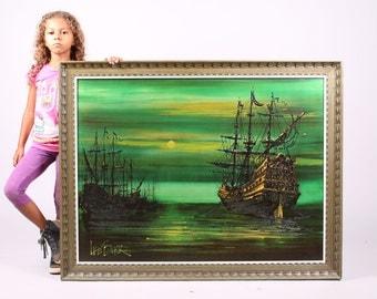 sold Vintage PIRATE SHIP mid century modern Lee Reynolds Burr 1960s painting Turner Vanguard Studio