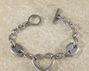 Stainless Steel Heart and Oval Link Bracelet