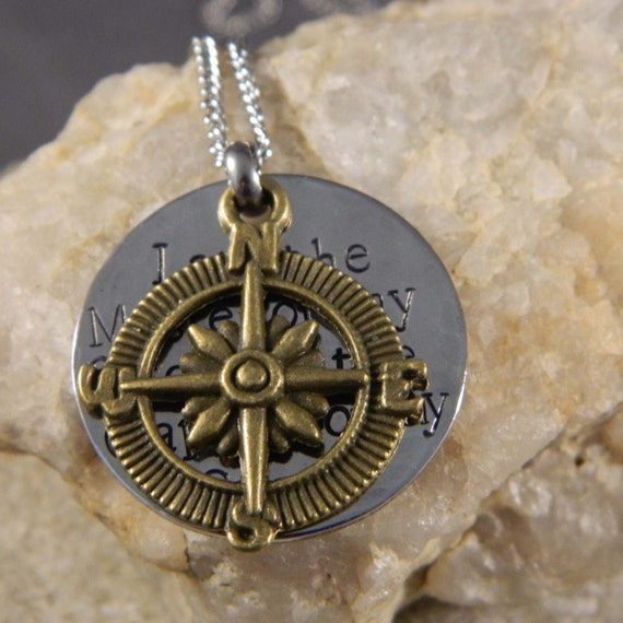 I Am the Master of my Fate, I am the Captain of my Soul with Compass Handstamped Necklace