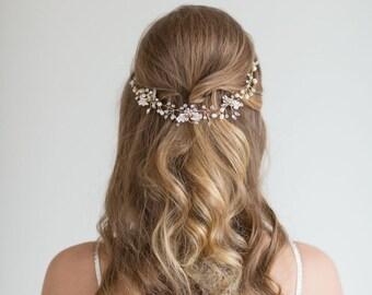 Wedding Hair Vine , Bridal Headpiece, Bridal Pearl Hair Swag, Gold Crystal Hair Vine, Silver Crystal Hair Vine, Wedding Hairpiece