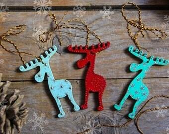 3 Christmas reindeer, Christmas tree hanging decoration, Holiday ornament