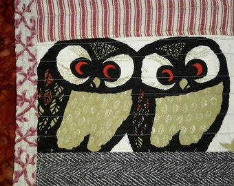 Art Textile Mat Red Boro Palette Owls Test Piece #1 Table Topper Size Quilted Cotton by artdesignsbydanielle