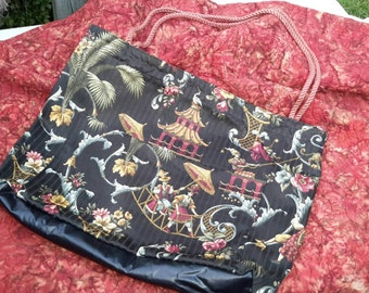 Beach Tote Asian Chinoisserie Leather Bottom Over Size Shoulder Bag Grocery Shopping Handbag by artdesignsbydanielle