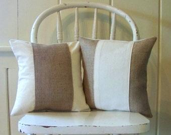 burlap & canvas stripe pillows / natural / burlap pillow / farmhouse / home decor / jennifer helene home /