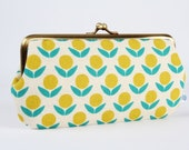 Frame purse with two sections - Stamped flowers in teal and yellow - Wowlet / Kisslock wallet / Japanese fabric / Ellen Baker / retro mod