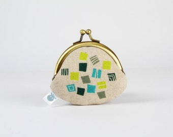 Metal frame coin purse - Hydrangea in lime teal and grey - Baby rounded purse /Japanese fabric / Geometric floral / cubes