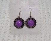 Silvertone Purple Dangle Earrings
