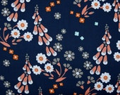 Navy Floral Organic Cotton Fabric from Cloud 9 Fabrics and Designer Aneela Huey sold in 1/2 yard increments