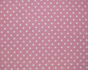 Yuwa Pink Polka Dots Japanese import sold in 1/2 yard increments
