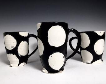 Coffee Mug; Black & White Polka Dot Mug; Modern; Tea Pot Sold Seperately
