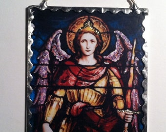 Archangel Michael Wall Plaque Soldered Glass Ornament