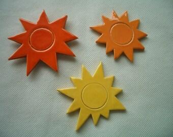 Trio of SUN MAGNETS - Ceramic Mosaic Tile Magnets