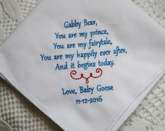 Gift to Groom From Bride-Embroidered Handkerchief Choose Your Wording and Design